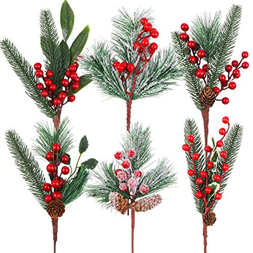 URATOT 6 Pack Artificial Christmas Picks 13.8 Inches Pine Tree Branches Stems Pine Picks with Pine Cones Red Berry Flower Ornaments for Xmas Wreaths Home Vase Decor