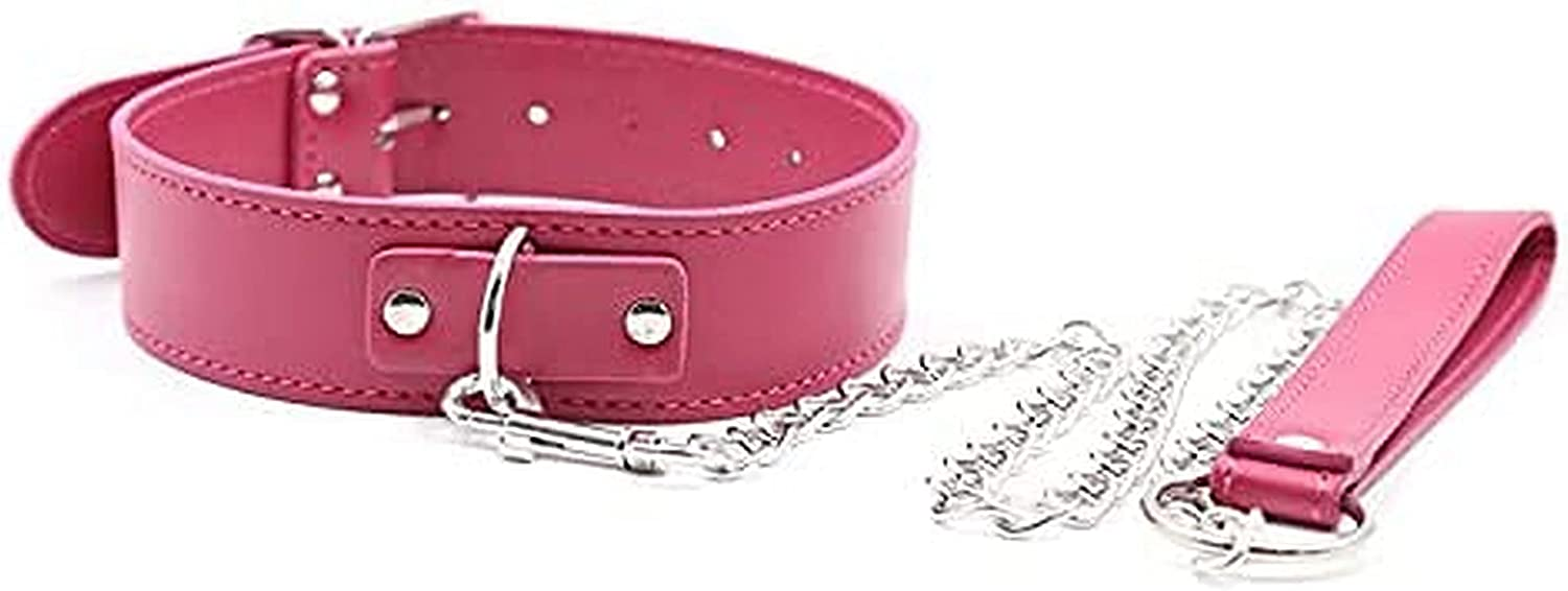 Pink Neck Chokers Collar for Women Punk Goth Simple Soft PU Leather Necklace Collar Choker for Cou^ples Play