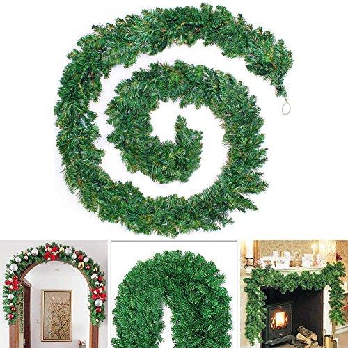 HOMEJIA Guirnalda de Navidad verde de 270 cm para decoración de fiesta, de ratán artificial de PVC, adorno de mimbre de Navidad (2,7 m)