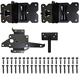 WINSOON Vinyl and Wood Fence Gate Latch and Hinges Kit,1 Pack Latch and 2 Pack Self-Closing Hinge