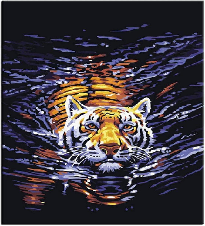 precios bajos todos los dias XCSXCSHUA Pintura Digital Tigre de Agua, 80X100cm Pintura de de de Arte de Parojo Digital Hogar Decoración de Parojo Obra Sin Marco  elige tu favorito