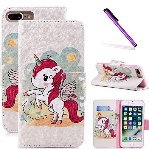 COTDINFOR iPhone 7 + Funda Precioso Animales Impresión Patrón Suave PU Cuero Cierre Magnético Billetera con Tapa para Tarjetas de Cárcasa para iPhone 7 Plus / 8 Plus Red Unicorn BF.