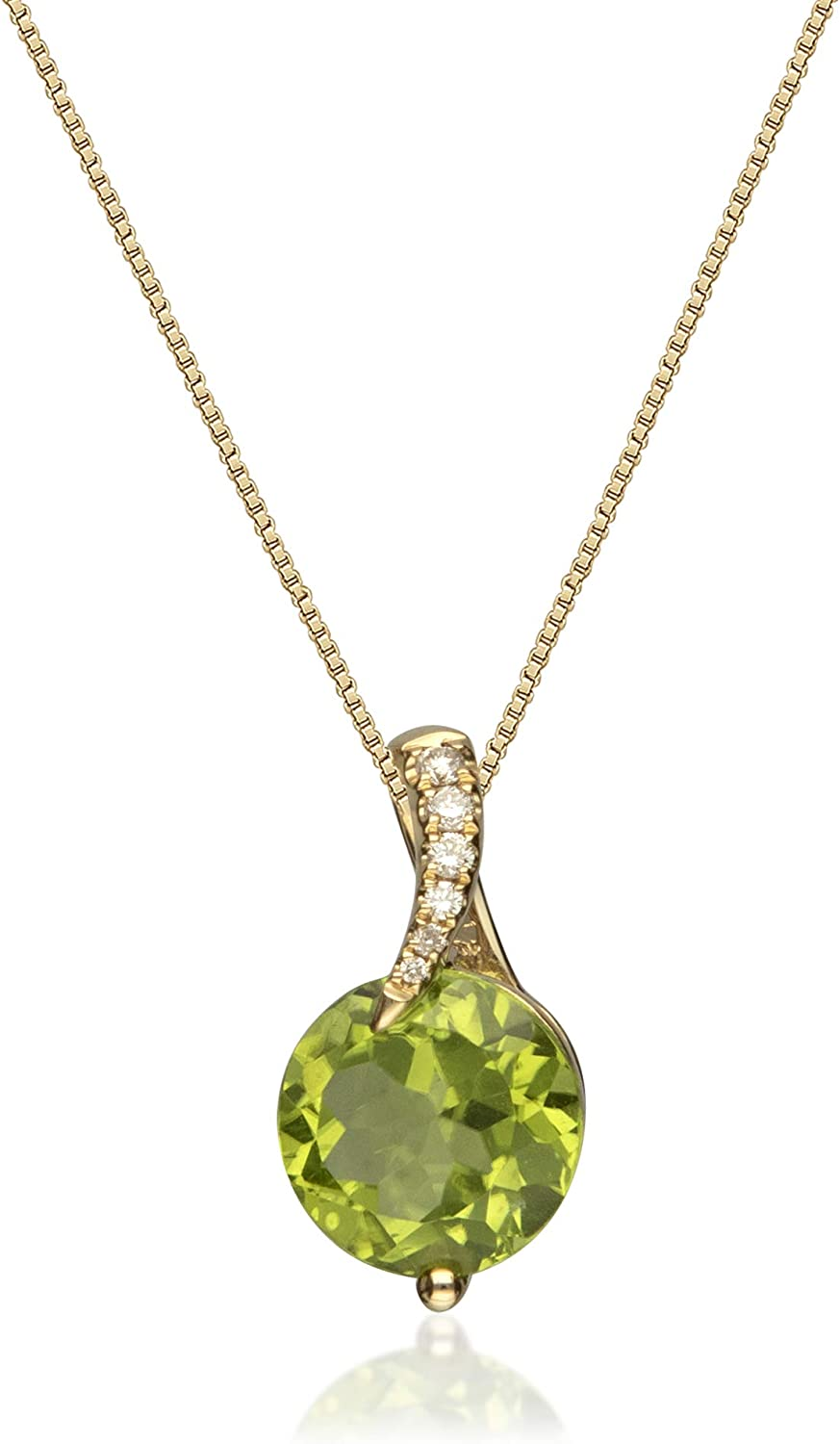 Gin & Grace 14K Yellow Gold Natural Diamond (I1) Pendant Necklace with Genuine Peridot Daily Work Wear Jewelry for Women Gifts for Her