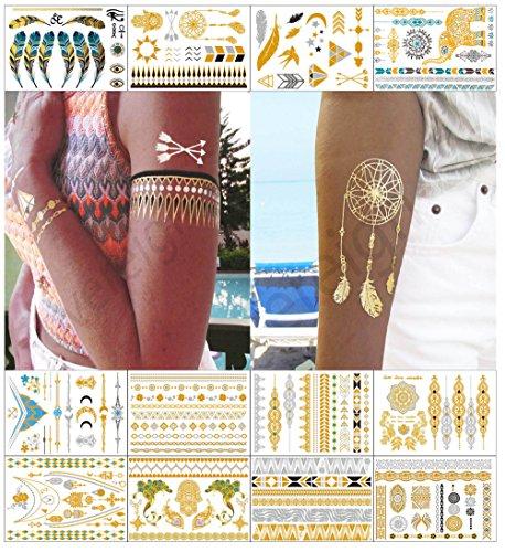 Metálico tatuajes temporales para las mujeres adolescentes Niñas - 12 hojas oro...