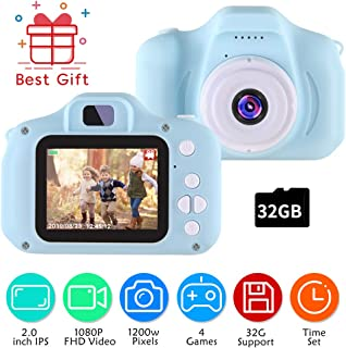 TekHome 2020 Top Toys for 3-4 Year Old Boys | 1080P Kids Digital Camera Blue for Boys with Games & 32GB SD Card | Outdoor Toddler Boy Toys | Christmas Birthday Gifts for Boys Age 5 6 7.
