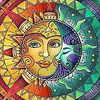 大人のための5Dダイヤモンドペインティングキット、フルドリルダイヤモンドペインティング太陽と月の顔フルドリルラインストーンダイヤモンドペインティング、大人のためのDIYダイヤモンドアート-40x60cm
