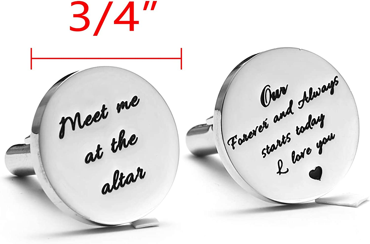Melix Home Stainless Steel CuffLinks for Men Groom Meet Me at The Altar Wedding Gifts Cuff Links