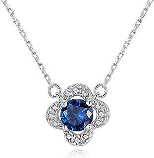 GHFDGDF Collar De Mujer Collar S925 Collar De Plata Sri Lanka Zafiro Colgante Simple Chica Cadena De Clavícula