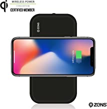 Portable Bluetooth Speaker & Wireless Charger Power Bank by ZENS, Enables Qi Charging, 2 x 5W Speakers, Works with iPhone 8, 8+, X, Samsung Galaxy S7, S8, Android, All Other Qi Enabled Devices