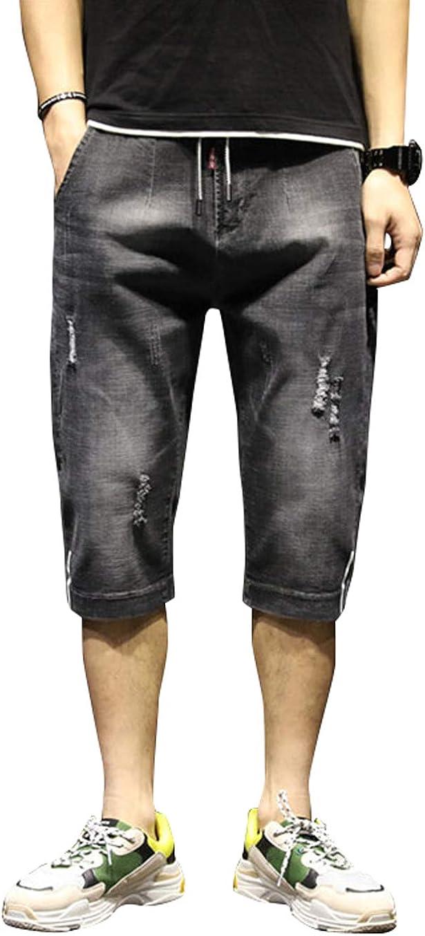 chouyatou Men's Summer Distressed Wash Calf Length Harem Capri Jean Shorts