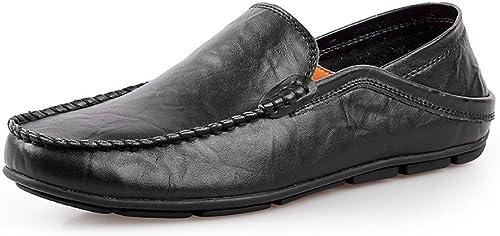 CHENDX Chaussures, Mode pour Hommes Semelle en Caoutchouc Souple Dos sans Dossier réglableChevaler Mocassins Penny Mocassins Bare Vamp Slip-on (Couleur   Noir, Taille   43 EU)
