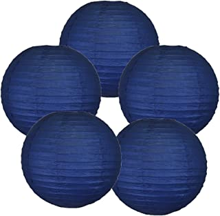 Just Artifacts 10-Inch Navy Blue Chinese Japanese Paper Lanterns (Set of 5, Navy Blue)