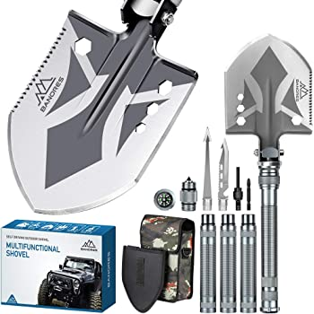 BANORES Folding Shovel, Camping Shovel Lengthened Handle and Larger Thicker Shovelhead Survival Shovel Multitool with Storage Pouch for Camping, Hiking, Backpacking, Fishing, Emergency