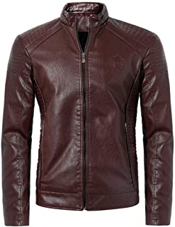 Cool Street Jackets Leather Long Sleeve Stand Collar Club Coats Men's Casual Waterproof Windproof Business Blousers