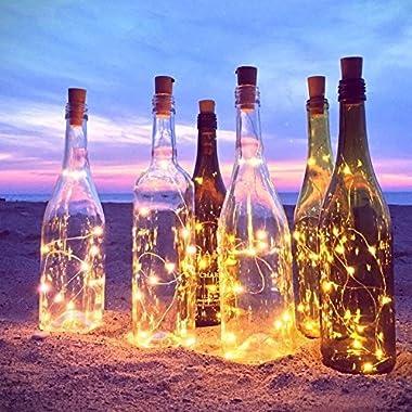 6pcs Bottle Lights – 39 inch 20 LED Lights for Bottles, Wine Glass Light for Bottle DIY, Party, Decor, Christmas, Halloween, Wedding (Warm White)