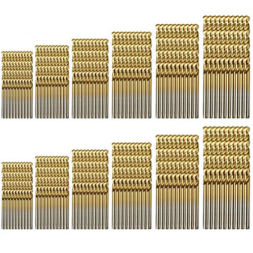 kuou 120 PCS Drill Bit Set, 1/1.5/2/2.5/3/3.5mm Titanium Twist High-Speed Steel Drill Bits Tool HSS Shank Drill Bits for Drilling Metal, Wood, Plastic, Copper Woodworking