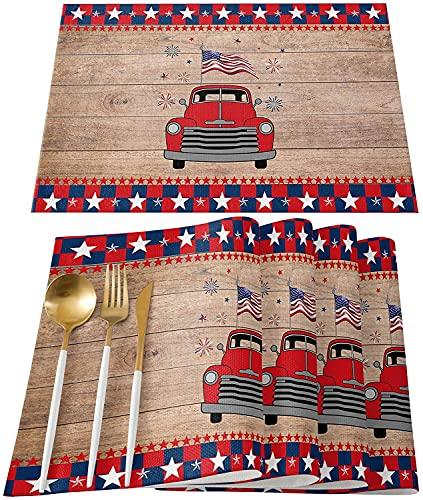 Flags Day Truck 4 de Julio Manteles Individuales Resistentes al Calor Plancha de Madera patriótica Buffalo Check Antideslizante Alfombrillas Lavables Cocina Mesa de Comedor Decoración para b