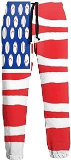 Cyloten Sweatpants American Flag Bats Balls Men's Trousers Cotton Baggy Sweatpants Novelty Pants for Daily