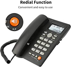 Desktop Corded Telephone with Caller ID Display, DTMF/FSK Dual System, Wired Landline Phone for Home/Hotel/Office, Adjustable Volume, Real Time Date&Week Display, Adjustable LCD Brightness