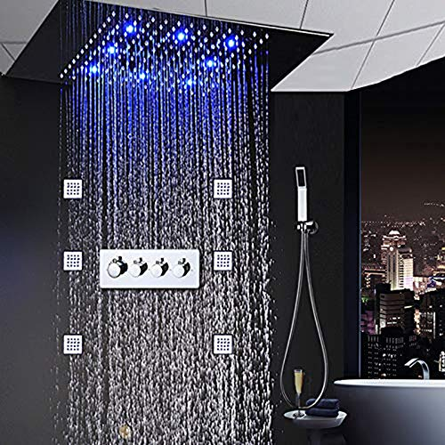 shengshiyujia Miscelatore Doccia ad Incasso a soffitto di Lusso con rubinetteria a LED, Grande Getto d'Acqua, Getto d'Acqua Calda e Fredda