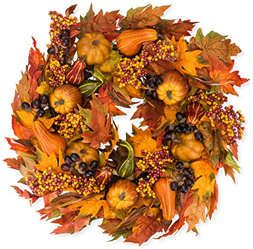 The Wreath Depot Montgomery Hollow Silk Fall Door Wreath, 26 inch, Beautiful White Gift Box Included