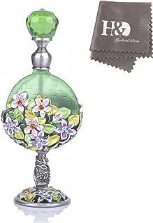 YUFENG Refillable Retro Glass Perfume Bottle w/Flower Figure and Rhinestone Decorations (Green)
