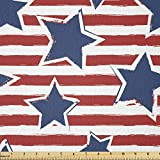 Lunarable Star Fabric by The Yard, Stars on Stripes USA Americana Theme Independence National Celebration Party Print, Stretch Knit Fabric for Clothing Sewing and Arts Crafts, 1 Yard, Navy Blue