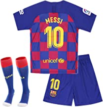 10 Messi Jersey 2019-2020 Season - Barcelona Lionel Messi Home Soccer Jersey Shorts and Socks for Kids Youth Red/Blue