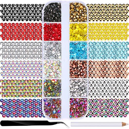 2400 Piezas Diamantes de Imitación Espalda Plana de Vidrio Hot Fix Gemas Cristales Redondas 3 MM en Caja de Almacenamiento con Pinzas y Bolígrafos de Diamantes Selección, 12 Colores Mezclados