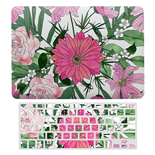 Plastic Hard Shell Case & Keyboard Cover Compatible with MacBook Air 13 (Models: A1466、A1369), Boho Chic Garden Floral Design Laptop Keyboard Membrane Protective Shell Set