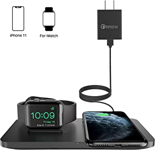 Wireless Charger [with QC 3.0 Adapter], Seneo 2 in 1 Wireless Charging Pad with iWatch Stand for iWatch 5/4/3,7.5W for iPhone 11/11 Pro Max/XR/XS Max/XS/X/8/8P/Airpods Pro (No Magnetic Charging Cable)
