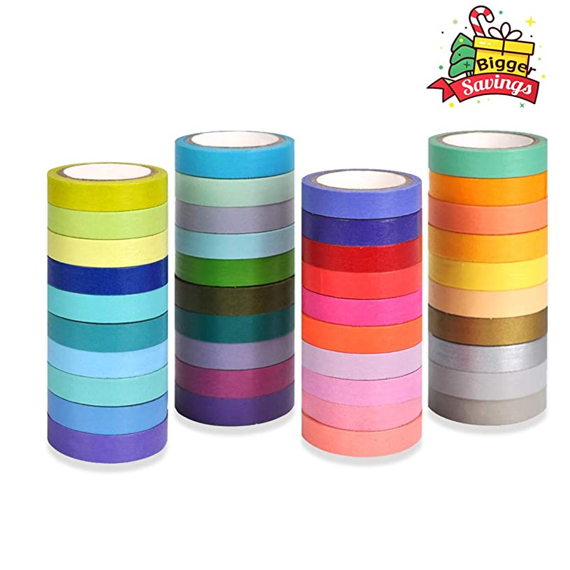 Washi Tape 40 Rolls Colorful Decorative Masking Tape for Crafts/Scrapbooking/Note Adhesive/Gift Wrapping Sticker Art Supplies Easy to Write on