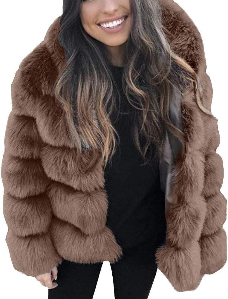 Kangma Women Winter Faux Mink Hooded Faux Fur Jacket Warm Thick Outerwear