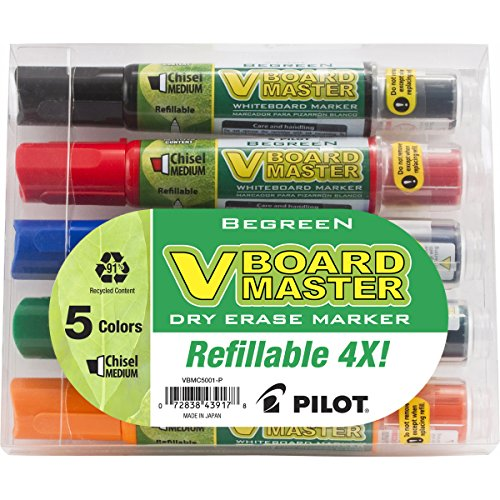 Pilot V Board Master Refillable Dry Erase Markers, Chisel Tip, Assorted Ink Colors, 5-Pack, 43917