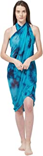Indian Dresses Store SOURBH Women's Faux Georgette Beach Wear Wrap Sarong Printed Pareo Swimsuit Cover Up (S370_Turquoise)
