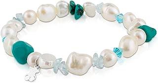 Pearls - Pulsera de Plata de Primera Ley con Perlas - 17,5 cm de Longitud