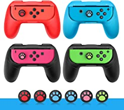 Joy Con Grip for Nintendo Switch Joy-Con 4-Pack/Wear-Resistant Smooth Surface Handle Kits with 6PCS Cat Paw Silicone Thumb Joystick Caps Cover