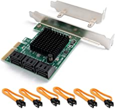 SHINESTAR SATA Controller Card 6 Port with 6 SATA Cables, PCIe to SATA Controller Expansion Card with Low Profile Bracket, 6 Gb/s SATA 3.0 PCI-e Card Non-Raid, Boot as System Disk, Support HDD or SSD
