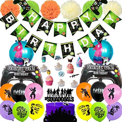 Game Theme Party Gefälligkeiten Set - BAIBEI Videospiel Party Supplies für Geburtstagsfeier, Banner, Cake Topper, Luftballons, Jungen und Grils Gamer Geburtstagsfeier Dekorationen