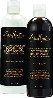 SheaMoisture African Black Soap Bath & Body Pack | Body Wash | Body Lotion | 13 fl. oz. Each