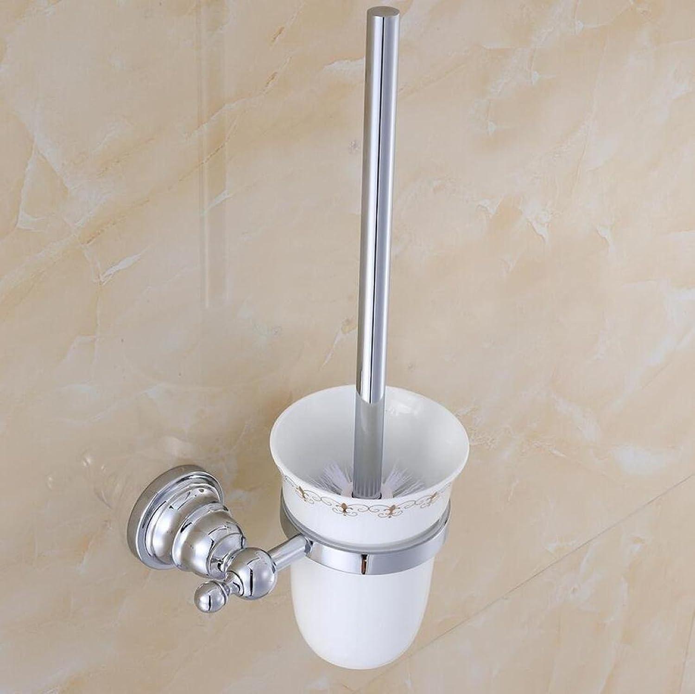 SPOLY WC-Bürsten Halter Chrome Farbe High-End-WC-Bürste und Halter Edelstahl Badezimmer-Zubehör Wand-WC-Reinigungsbürste-Set WC-Schüssel-Reinigungs-System Platz sparendes Design B07L1GCWJ5
