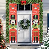 Christmas Nutcracker Banner Front Porch Decorations, 6ft Life Size Soldier Model Nutcracker Porch Sign, Xmas Outdoor Hanging Banners Party Décor for Home Front Door Garden Yard Apartment Office Wall