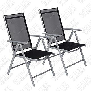 CCLIFE Juego sillas Plegables de Aluminio para jardín,
