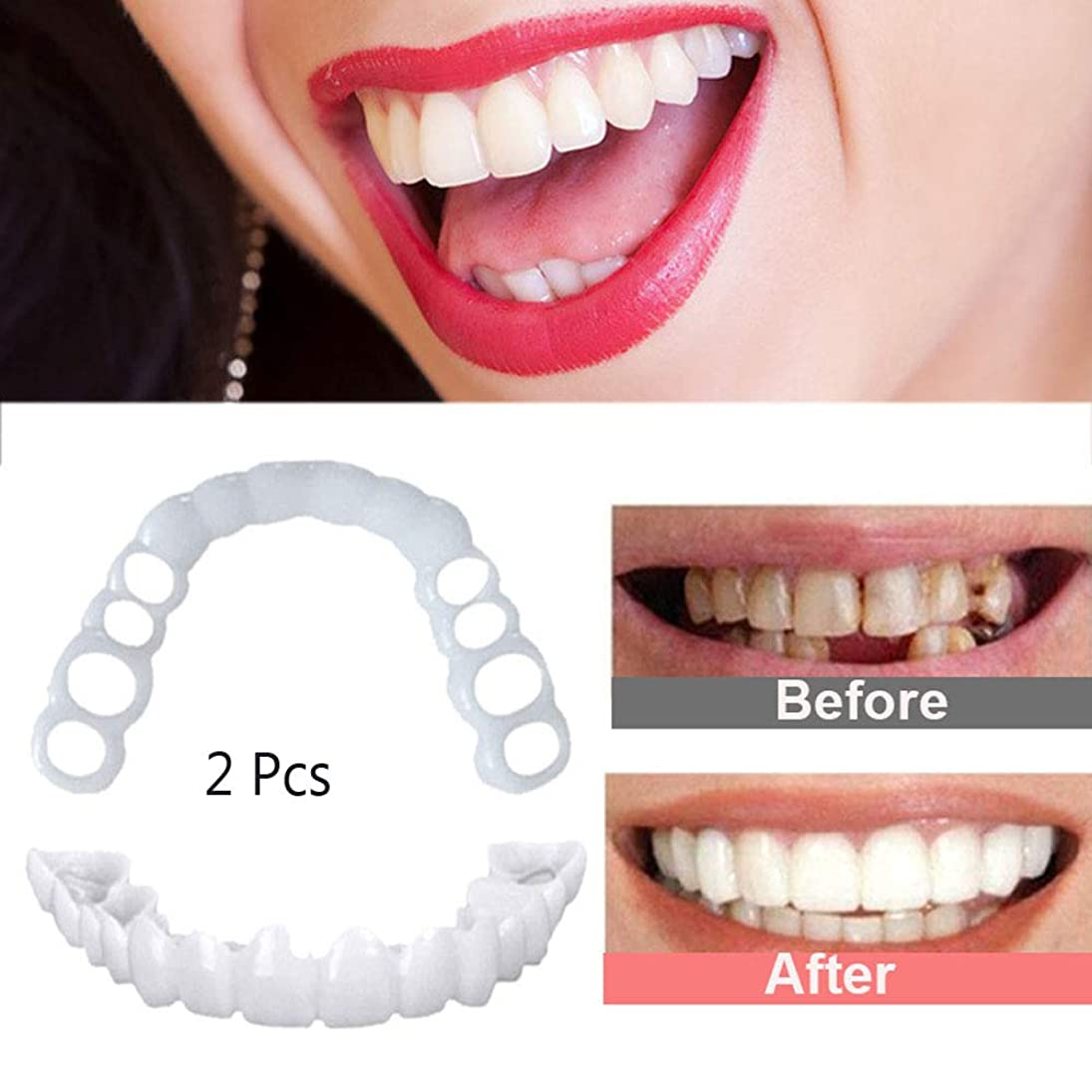 にもかかわらずパズル重要性偽の歯パーフェクトフィットスナップを笑顔に美白笑顔化粧品快適なベニヤカバー偽の歯、1セット