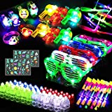 84 PCS Glow in the Dark Party Supplies for Kids Light up Party Favors Light Up Toys with Finger Lights, LED Bracelets, Flashing Glasses, Whistles Necklace, 6 Luminous Stickers, Slingshot Birthday Gift