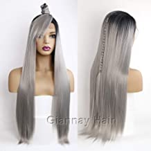 Giannay Hair Ombre Gray Dark Roots Lace Front Wigs Long Natural Straight Silver Grey Replacement Hair Wigs for Women Heat ...
