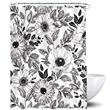 Homewelle Sketch Floral Shower Curtain Black and White Blossom Flower 60Wx72H Plants Vintage Leaves Botanical Bouquets Spring Waterproof 12 Pack Hooks Polyester Fabric Bathroom Bathtub