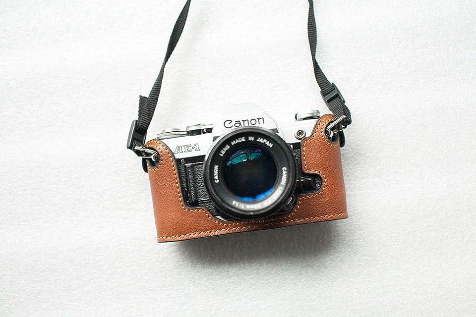 Funda de Cuero Genuino Hecho a Mano con Media cámara para Canon Ae-1 Amarillo Marron