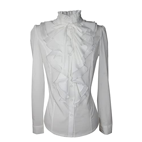 b54565d16e2b46 Shirts for Women Stand-Up Collar Vintage Victoria Ruffle