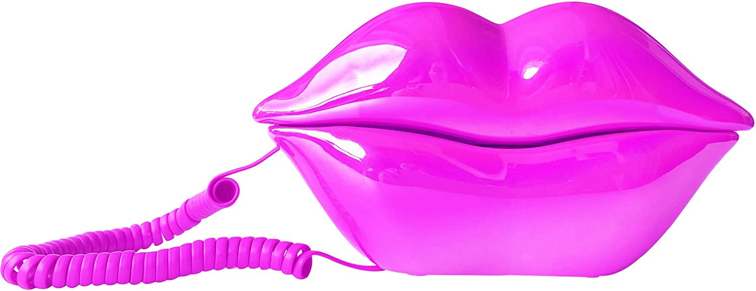 TelPal Corded Landline Phones for Home, Funny Novelty Lip Phone Gift, Wired Mouth Telephone Cartoon Shaped Real Landline Home Office Telephones Furniture Decor (Rose)
